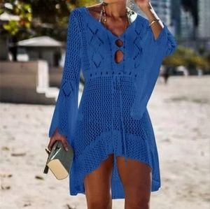High Quality Crochet Knitted Beach Dress Navy Blue